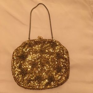 Handbags - Vintage 1950s gold tone sequined & beaded bag